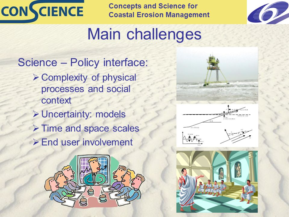 Concepts and Science for Coastal Erosion Management Main challenges Science – Policy interface:  Complexity of physical processes and social context  Uncertainty: models  Time and space scales  End user involvement