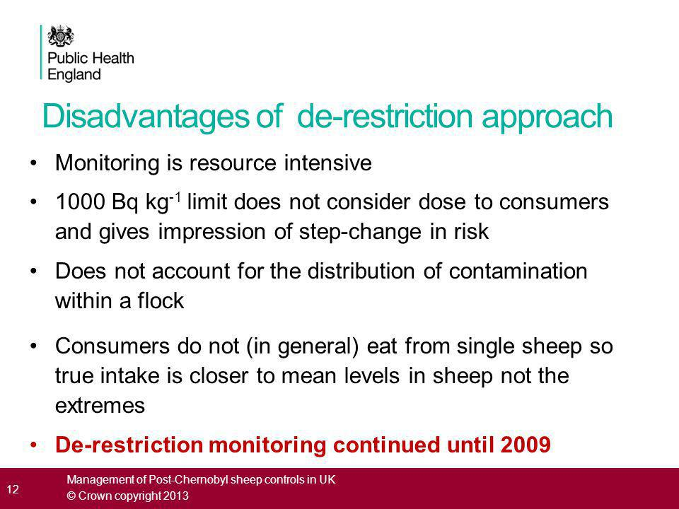 Disadvantages of de-restriction approach Monitoring is resource intensive 1000 Bq kg -1 limit does not consider dose to consumers and gives impression of step-change in risk Does not account for the distribution of contamination within a flock Consumers do not (in general) eat from single sheep so true intake is closer to mean levels in sheep not the extremes De-restriction monitoring continued until 2009 12 Management of Post-Chernobyl sheep controls in UK © Crown copyright 2013