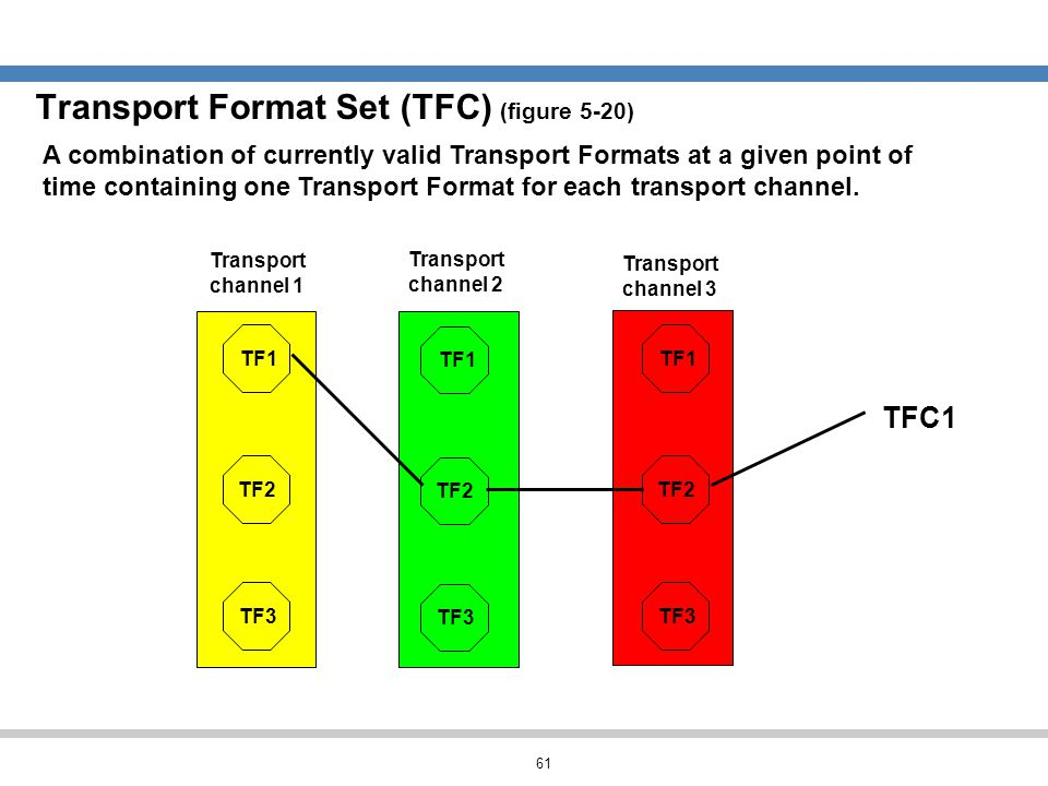 61 Transport Format Set (TFC) (figure 5-20) A combination of currently valid Transport Formats at a given point of time containing one Transport Forma