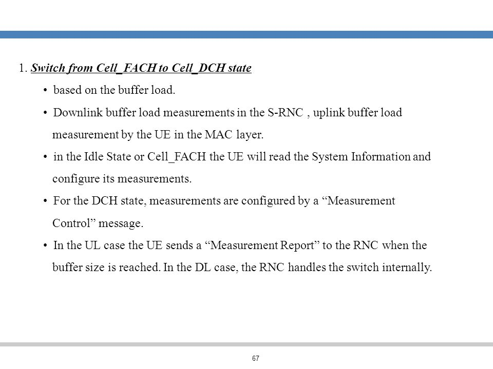 67 1. Switch from Cell_FACH to Cell_DCH state based on the buffer load. Downlink buffer load measurements in the S-RNC, uplink buffer load measurement