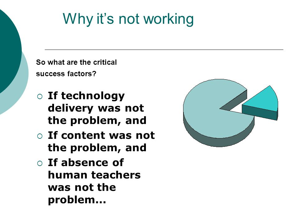 Why it's not working  If technology delivery was not the problem, and  If content was not the problem, and  If absence of human teachers was not the problem...