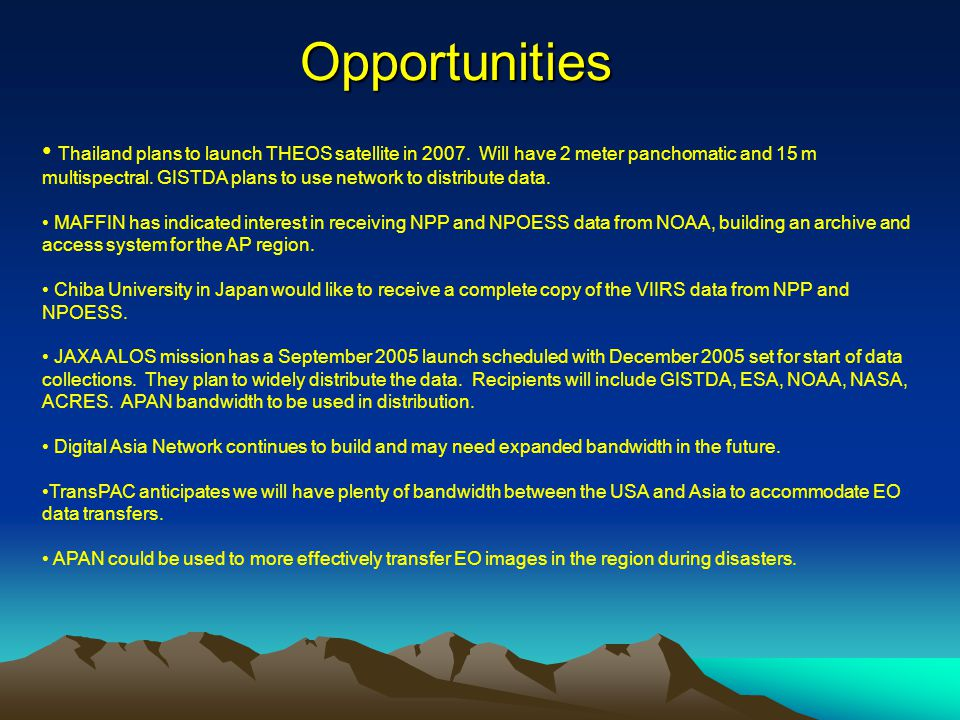 Opportunities Thailand plans to launch THEOS satellite in 2007.