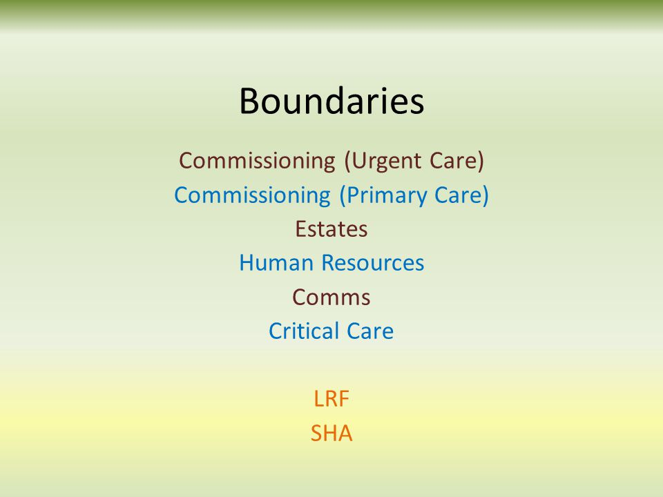 Boundaries Commissioning (Urgent Care) Commissioning (Primary Care) Estates Human Resources Comms Critical Care LRF SHA