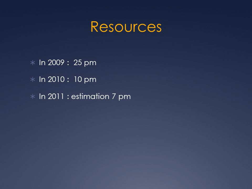 Resources  In 2009 : 25 pm  In 2010 : 10 pm  In 2011 : estimation 7 pm