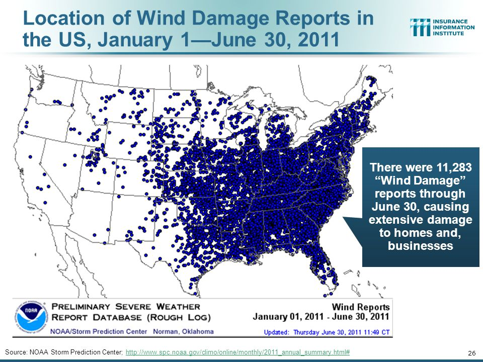 Location of Wind Damage Reports in the US, January 1—June 30, 2011 Source: NOAA Storm Prediction Center; http://www.spc.noaa.gov/climo/online/monthly/