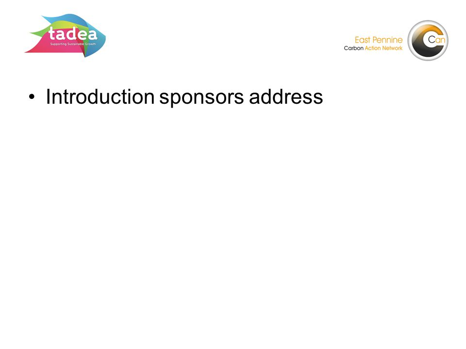 Introduction sponsors address