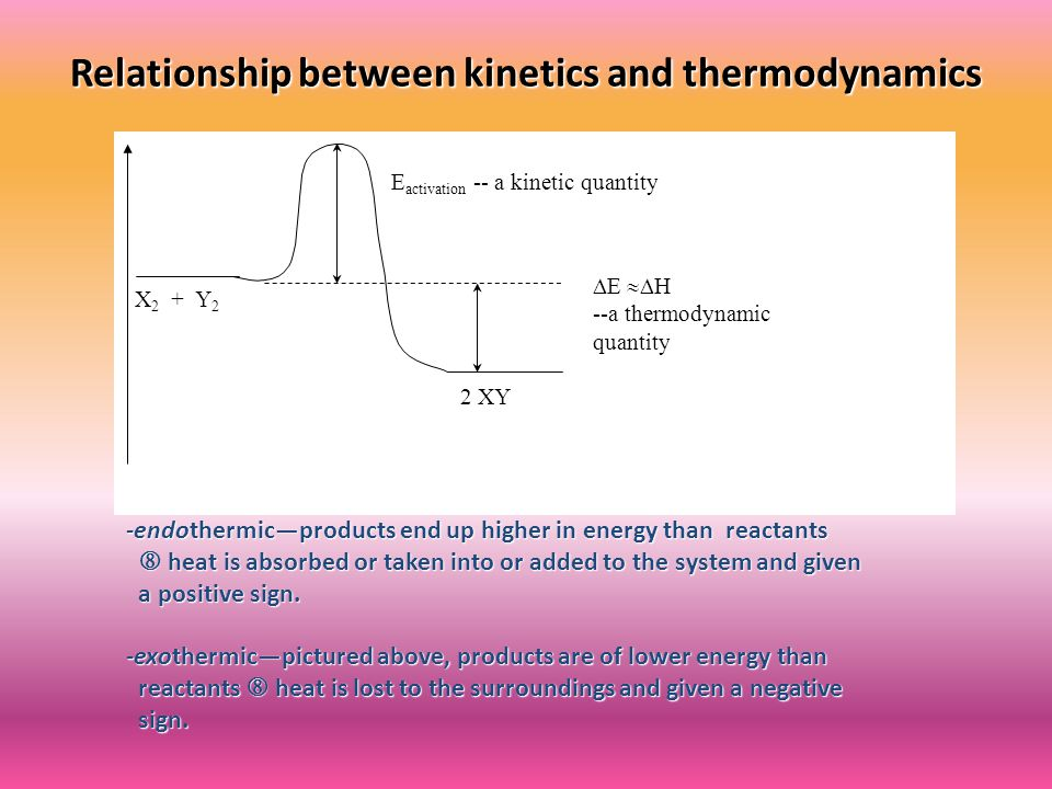 Relationship between kinetics and thermodynamics Reaction Coordinate (time) X 2 + Y 2 2 XY E activation -- a kinetic quantity  E  H --a thermodynamic quantity -endothermic—products end up higher in energy than reactants  heat is absorbed or taken into or added to the system and given a positive sign.