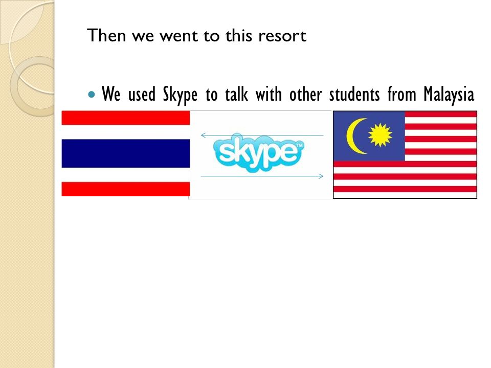 We used Skype to talk with other students from Malaysia Then we went to this resort