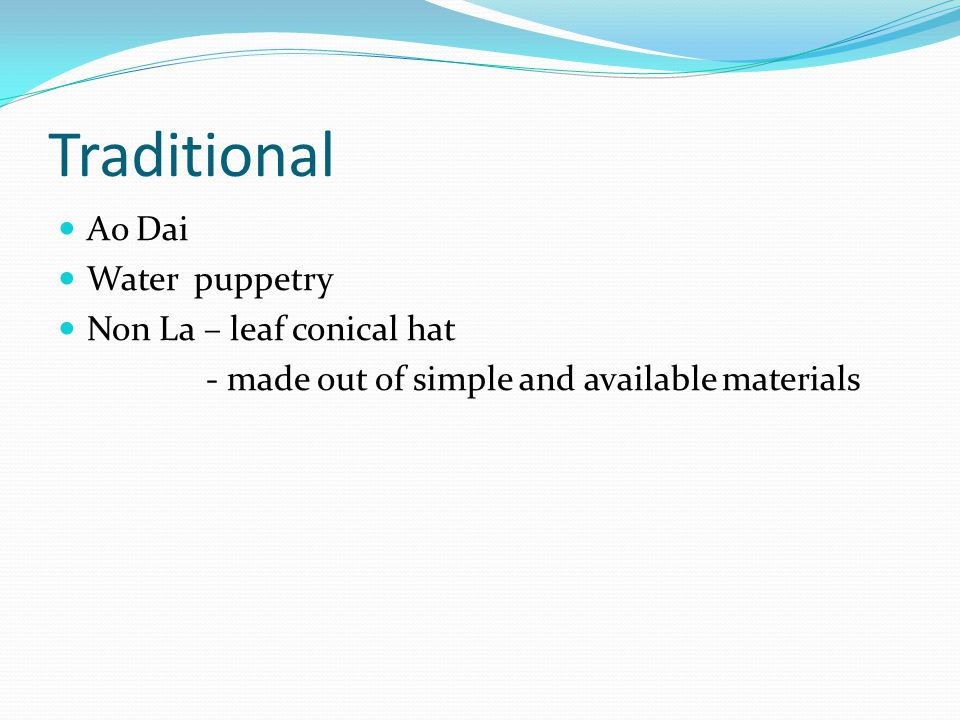 Traditional Ao Dai Water puppetry Non La – leaf conical hat - made out of simple and available materials