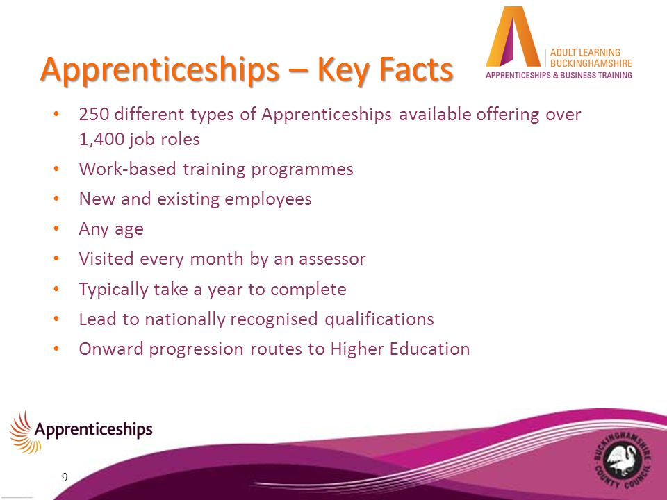 Apprenticeships – Key Facts 250 different types of Apprenticeships available offering over 1,400 job roles Work-based training programmes New and existing employees Any age Visited every month by an assessor Typically take a year to complete Lead to nationally recognised qualifications Onward progression routes to Higher Education 9
