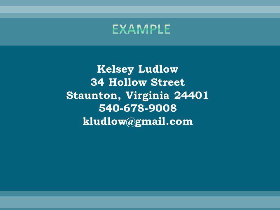 Kelsey Ludlow 34 Hollow Street Staunton, Virginia 24401 540-678-9008 kludlow@gmail.com