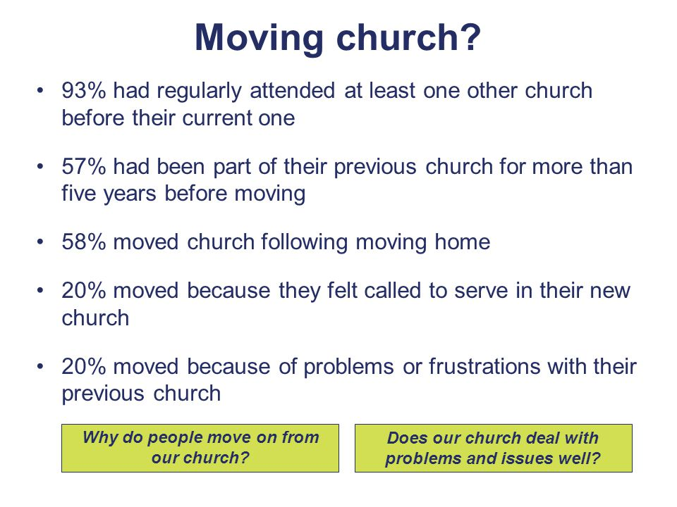 93% had regularly attended at least one other church before their current one 57% had been part of their previous church for more than five years before moving 58% moved church following moving home 20% moved because they felt called to serve in their new church 20% moved because of problems or frustrations with their previous church Why do people move on from our church.