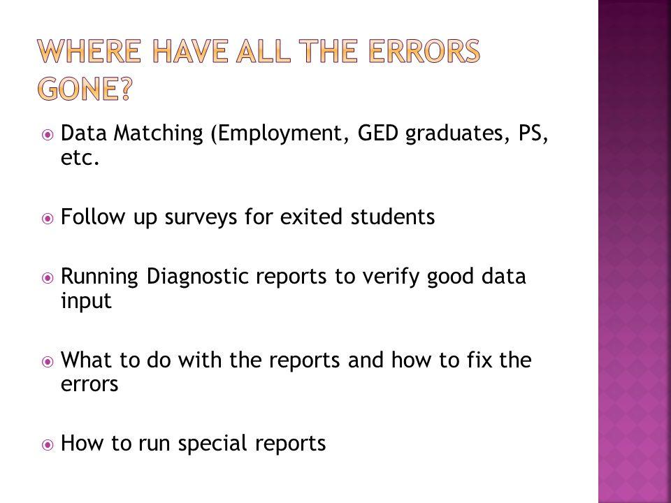  Data Matching (Employment, GED graduates, PS, etc.