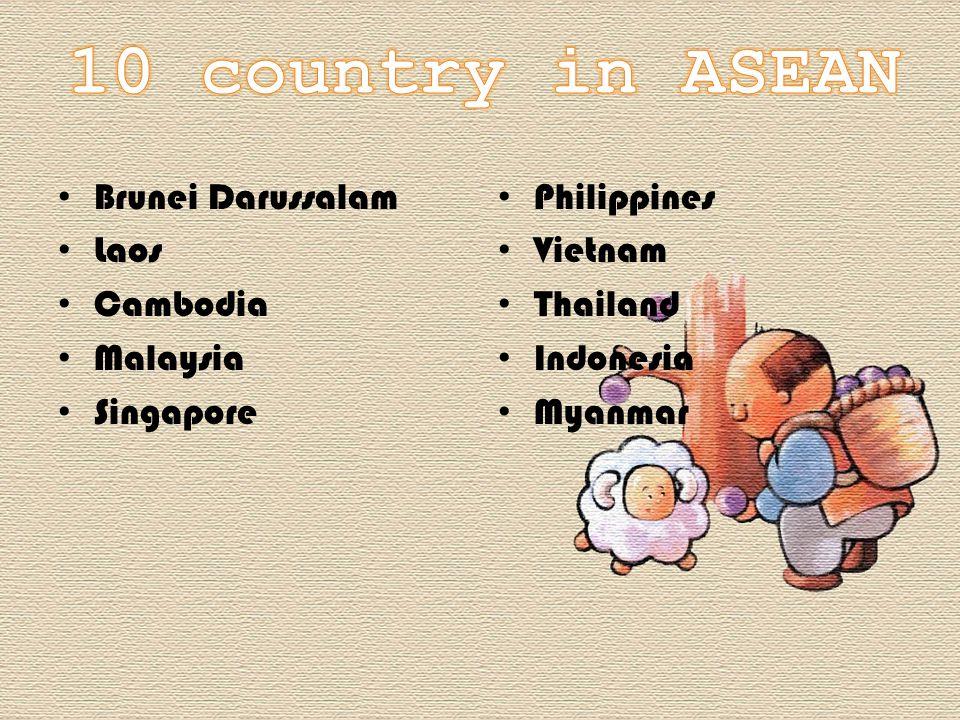 Brunei Darussalam Laos Cambodia Malaysia Singapore Philippines Vietnam Thailand Indonesia Myanmar