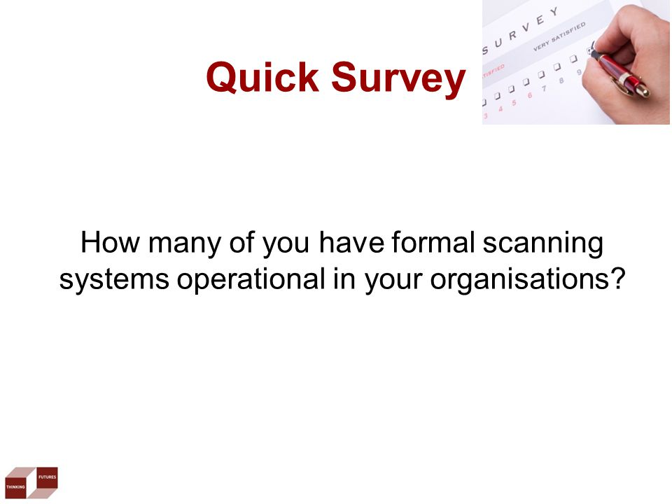 Quick Survey How many of you have formal scanning systems operational in your organisations?