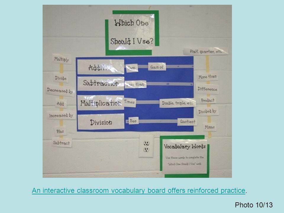 An interactive classroom vocabulary board offers reinforced practiceAn interactive classroom vocabulary board offers reinforced practice. Photo 10/13