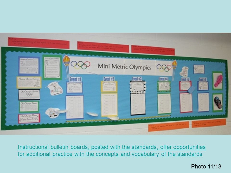 Instructional bulletin boards, posted with the standards, offer opportunities for additional practice with the concepts and vocabulary of the standard