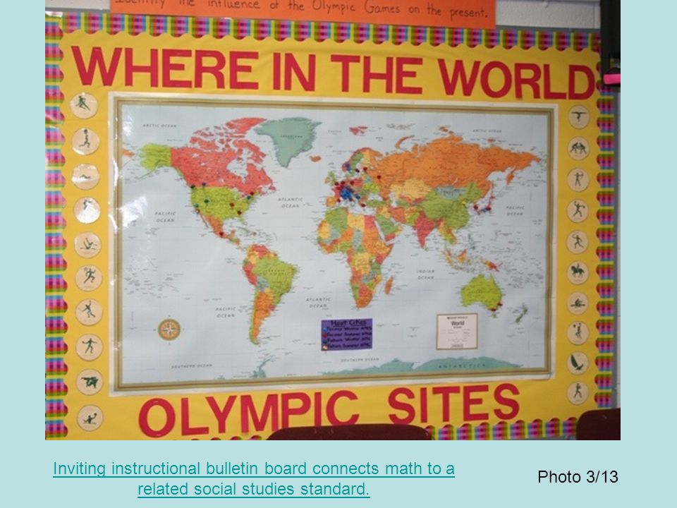 Inviting instructional bulletin board connects math to a related social studies standard. Photo 3/13