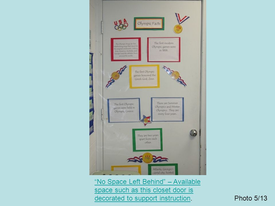 """""""No Space Left Behind"""" – Available space such as this closet door is decorated to support instruction""""No Space Left Behind"""" – Available space such as"""