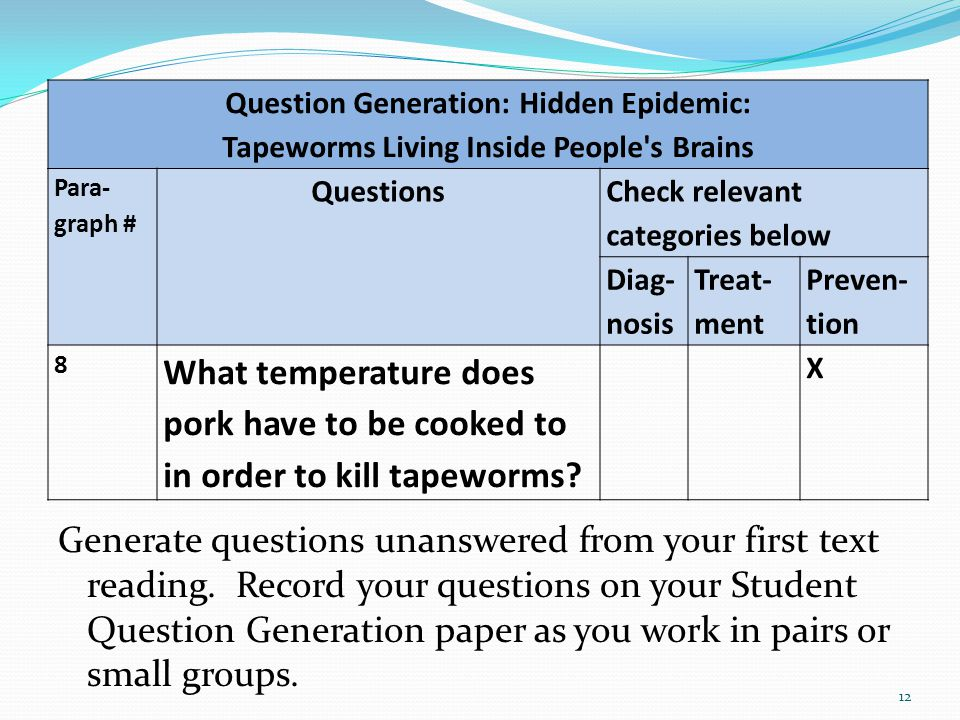Generate questions unanswered from your first text reading. Record your questions on your Student Question Generation paper as you work in pairs or sm