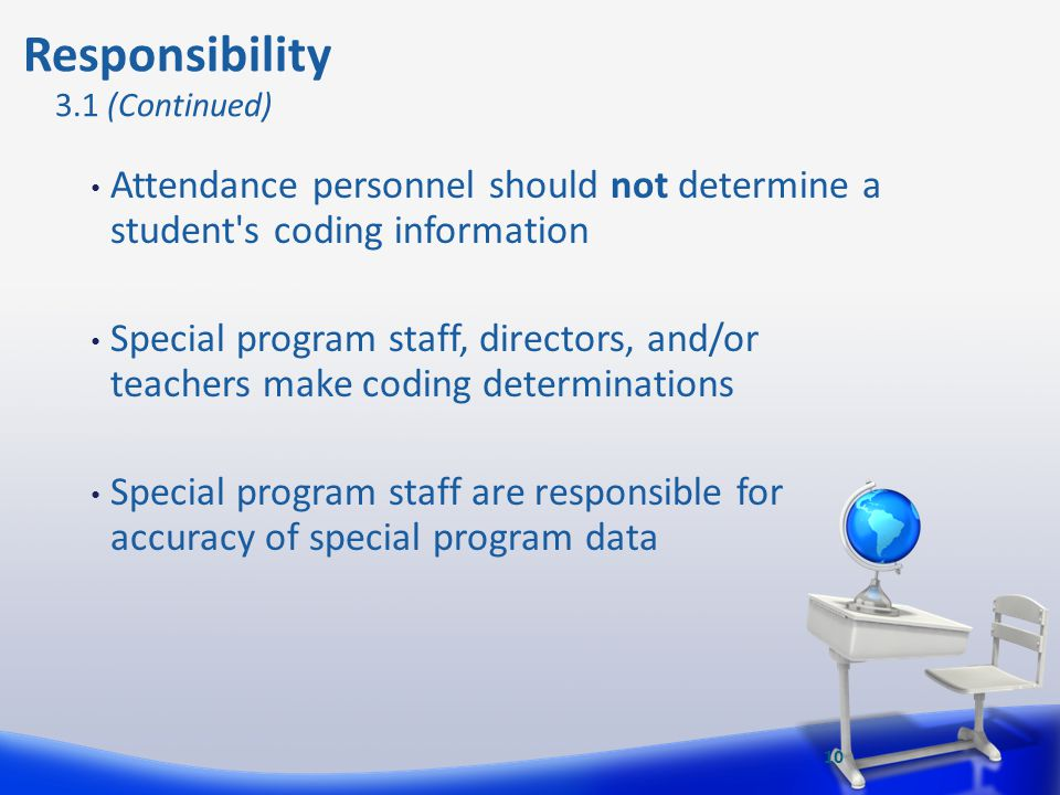 Attendance personnel should not determine a student's coding information Special program staff, directors, and/or teachers make coding determinations