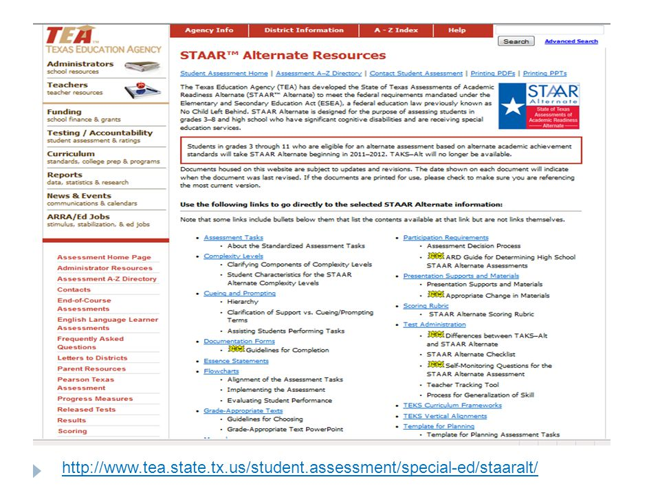 http://www.tea.state.tx.us/student.assessment/special-ed/staaralt/