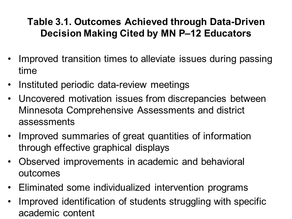 Table 3.1. Outcomes Achieved through Data-Driven Decision Making Cited by MN P–12 Educators Improved transition times to alleviate issues during passi