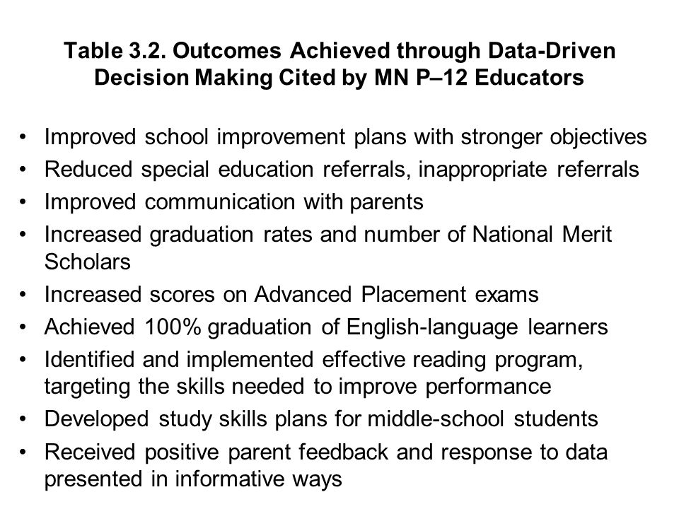 Table 3.2. Outcomes Achieved through Data-Driven Decision Making Cited by MN P–12 Educators Improved school improvement plans with stronger objectives