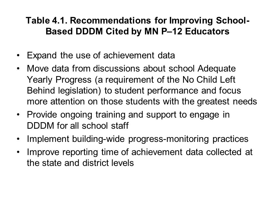 Table 4.1. Recommendations for Improving School- Based DDDM Cited by MN P–12 Educators Expand the use of achievement data Move data from discussions a