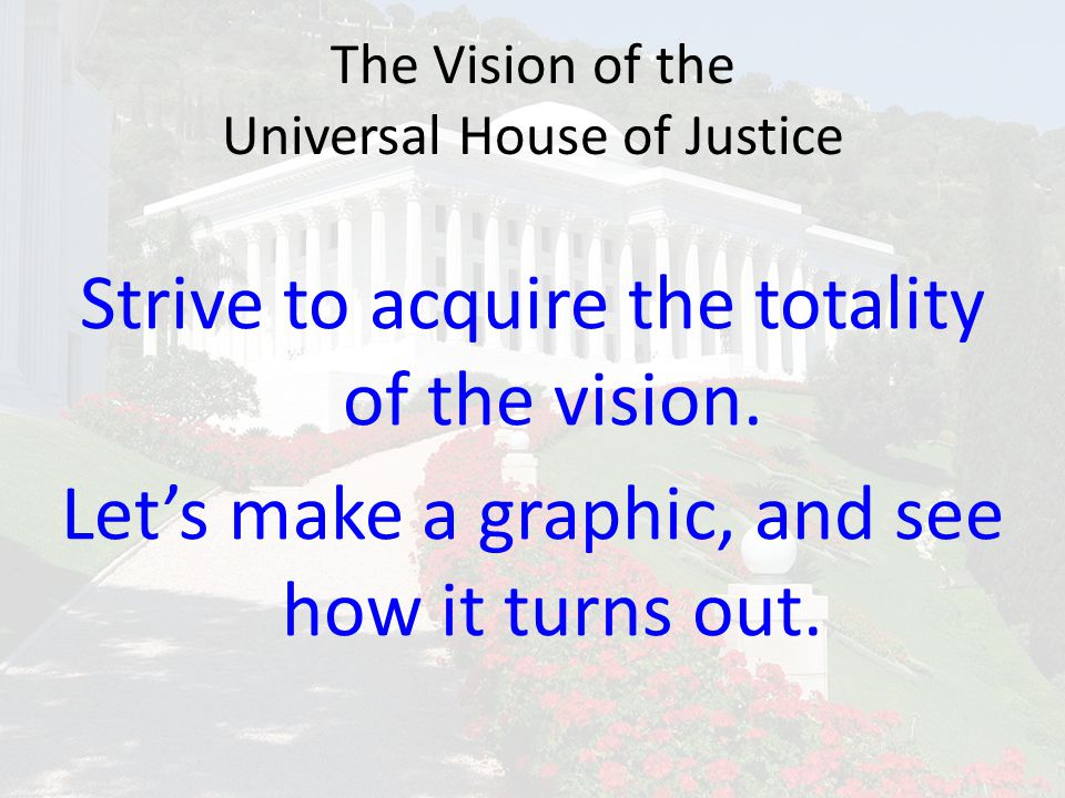 The Vision of the Universal House of Justice Strive to acquire the totality of the vision. Let's make a graphic, and see how it turns out.