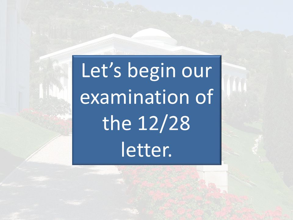 Let's begin our examination of the 12/28 letter.