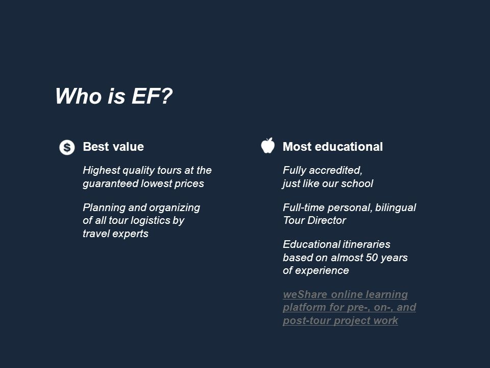 Who is EF? Most educational Fully accredited, just like our school Full-time personal, bilingual Tour Director Educational itineraries based on almost