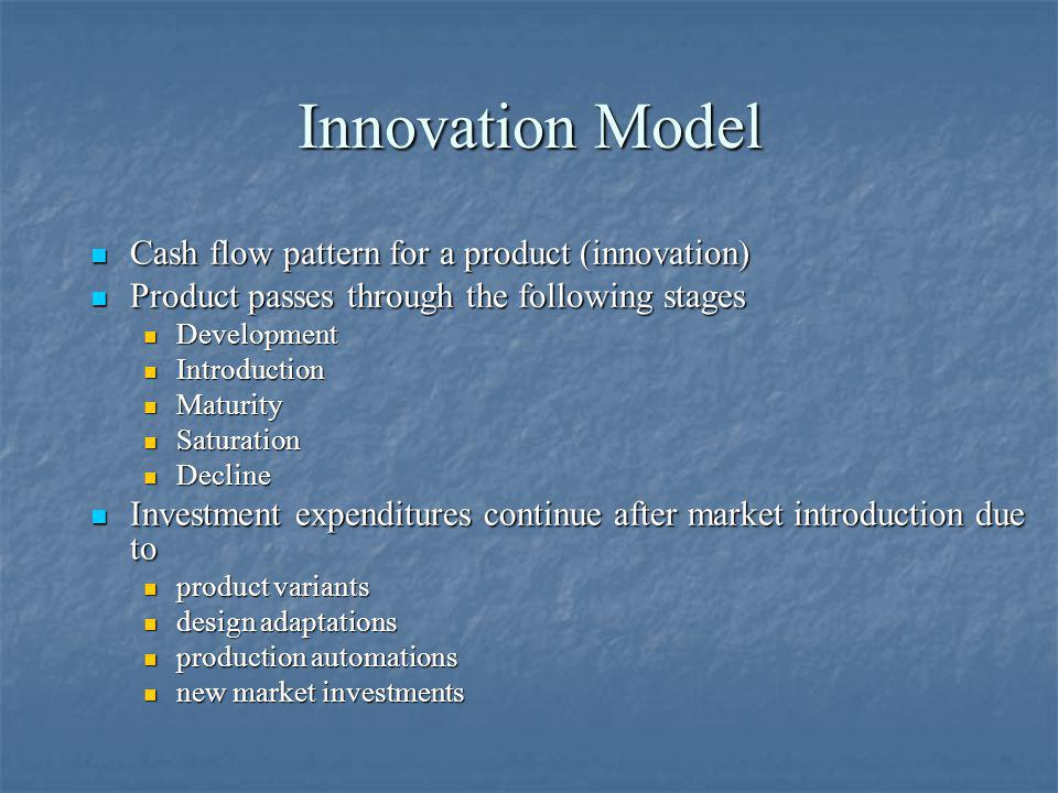 Innovation Model Cash flow pattern for a product (innovation) Cash flow pattern for a product (innovation) Product passes through the following stages