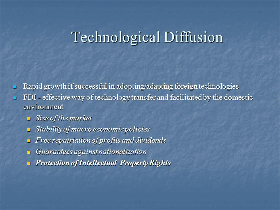 Technological Diffusion Technological Diffusion Rapid growth if successful in adopting/adapting foreign technologies Rapid growth if successful in ado