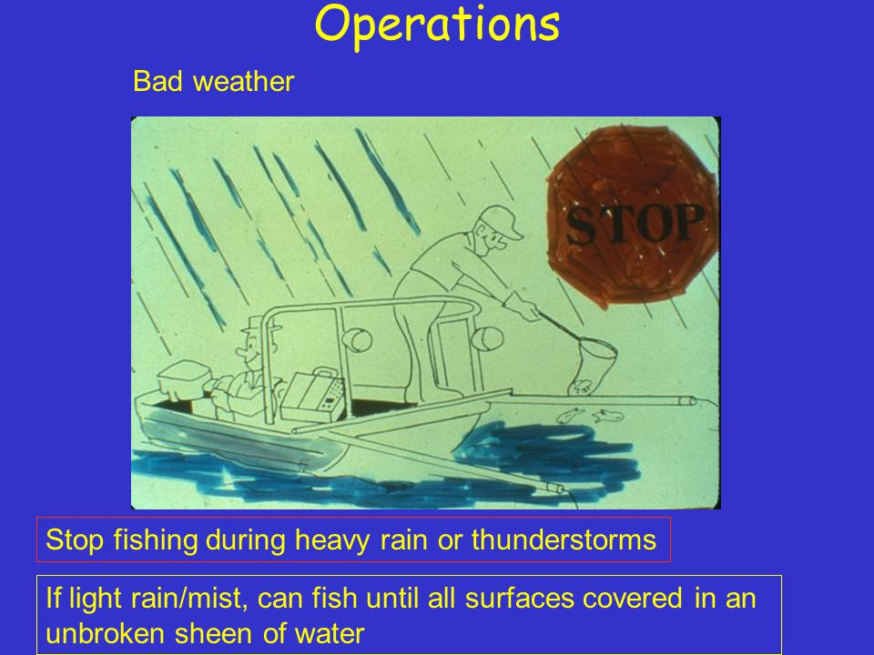 Operations Bad weather Stop fishing during heavy rain or thunderstorms If light rain/mist, can fish until all surfaces covered in an unbroken sheen of water
