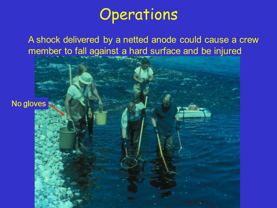 Operations A shock delivered by a netted anode could cause a crew member to fall against a hard surface and be injured No gloves