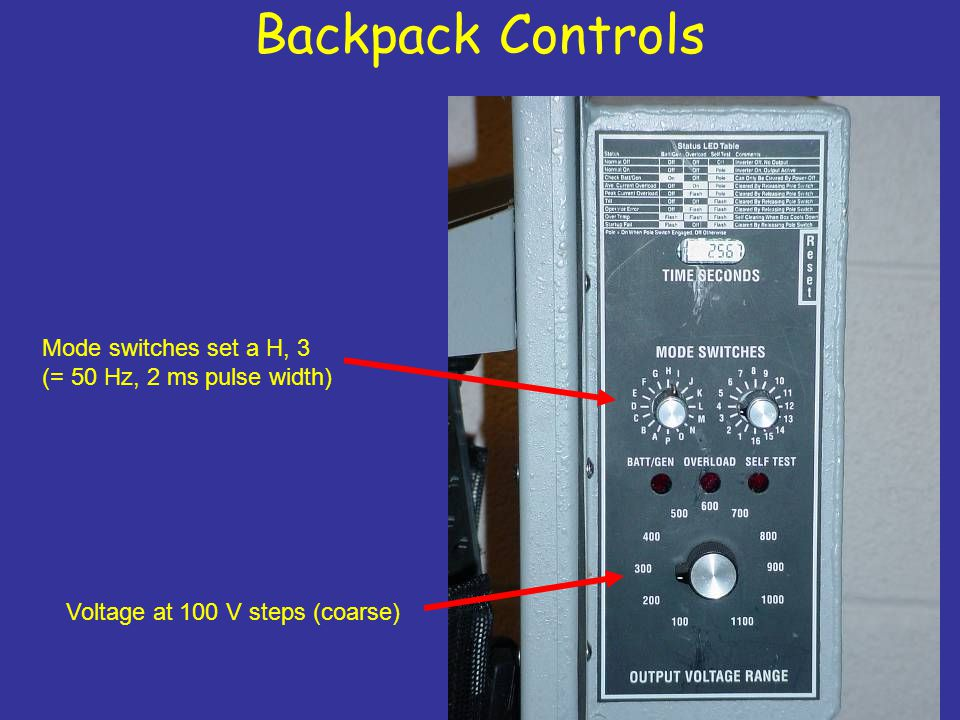 Backpack Controls Voltage at 100 V steps (coarse) Mode switches set a H, 3 (= 50 Hz, 2 ms pulse width)