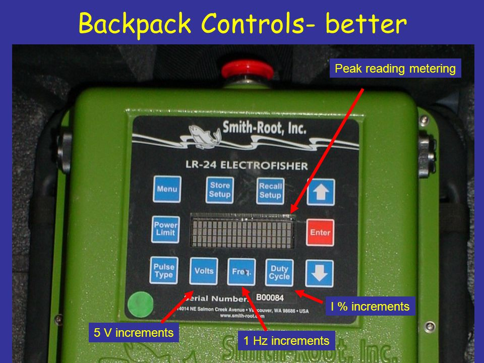 Backpack Controls- better Peak reading metering 5 V increments 1 Hz increments I % increments