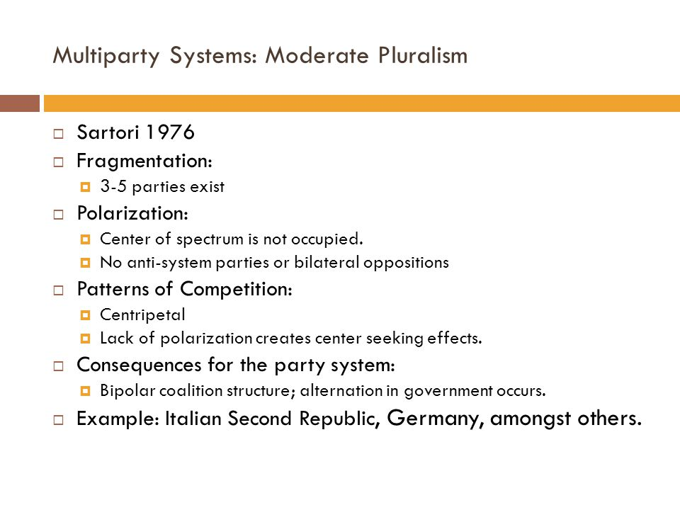 Multiparty Systems: Moderate Pluralism  Sartori 1976  Fragmentation:  3-5 parties exist  Polarization:  Center of spectrum is not occupied.  No