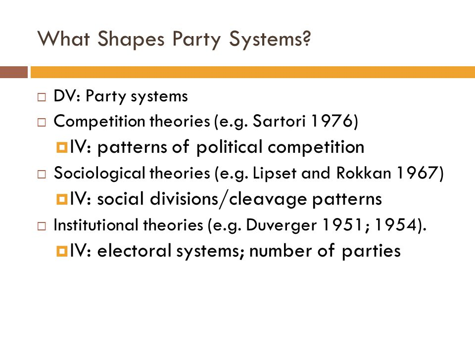 What Shapes Party Systems?  DV: Party systems  Competition theories (e.g. Sartori 1976)  IV: patterns of political competition  Sociological theor