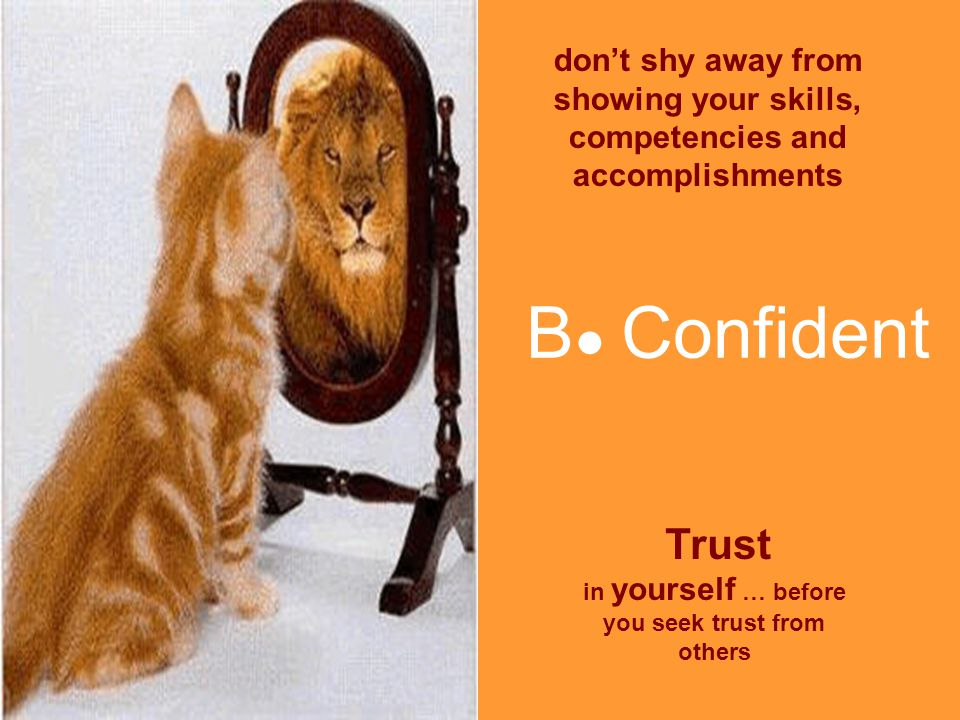 B ● Confident Trust in yourself … before you seek trust from others don't shy away from showing your skills, competencies and accomplishments