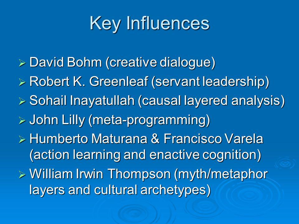 Key Influences  David Bohm (creative dialogue)  Robert K. Greenleaf (servant leadership)  Sohail Inayatullah (causal layered analysis)  John Lilly