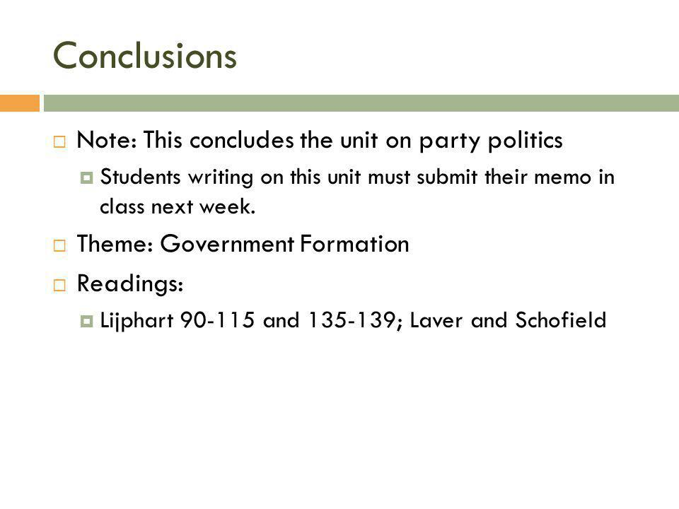 Conclusions  Note: This concludes the unit on party politics  Students writing on this unit must submit their memo in class next week.