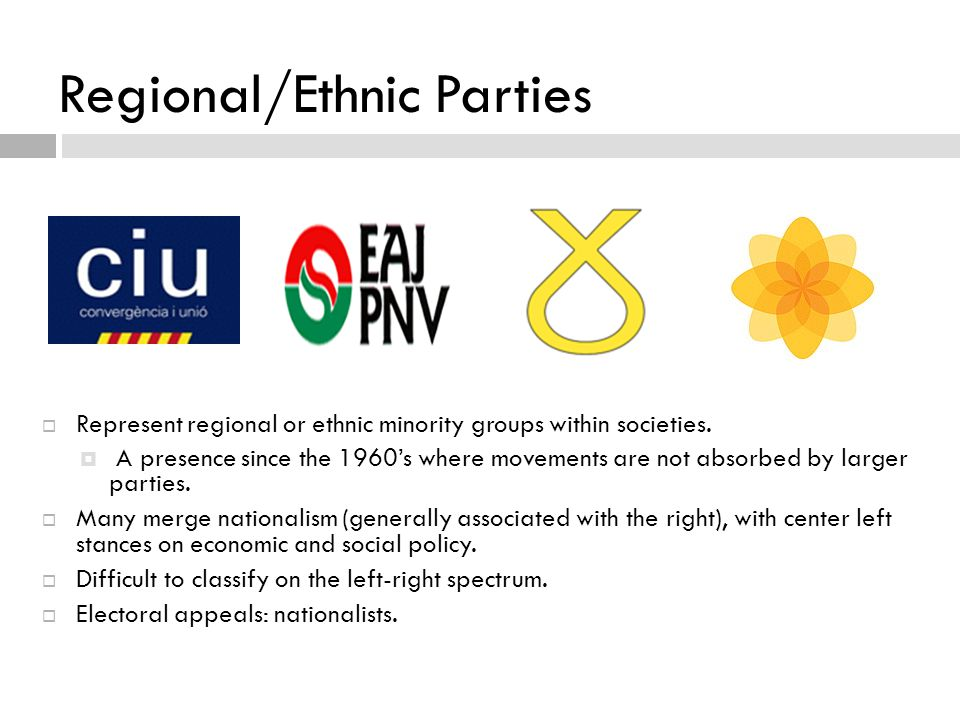 Regional/Ethnic Parties  Represent regional or ethnic minority groups within societies.