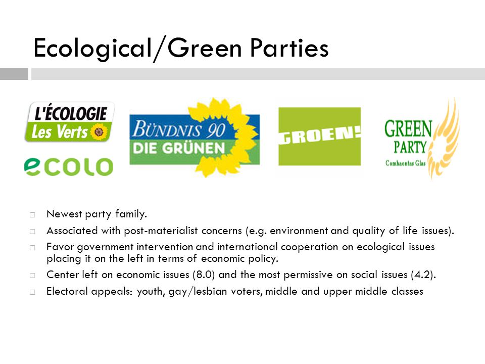 Ecological/Green Parties  Newest party family.  Associated with post-materialist concerns (e.g.