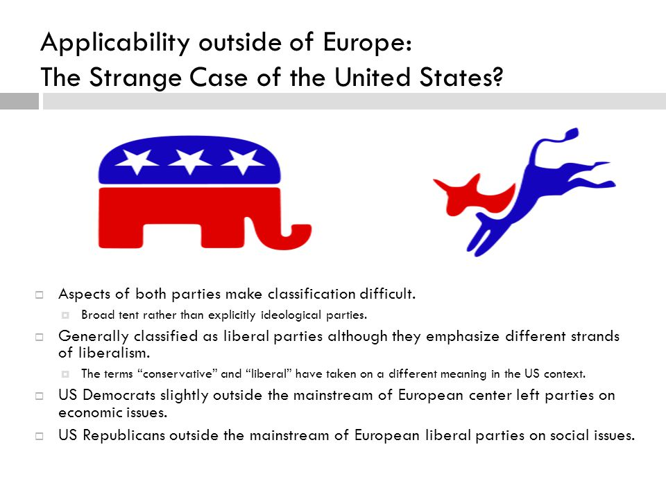 Applicability outside of Europe: The Strange Case of the United States?  Aspects of both parties make classification difficult.  Broad tent rather t