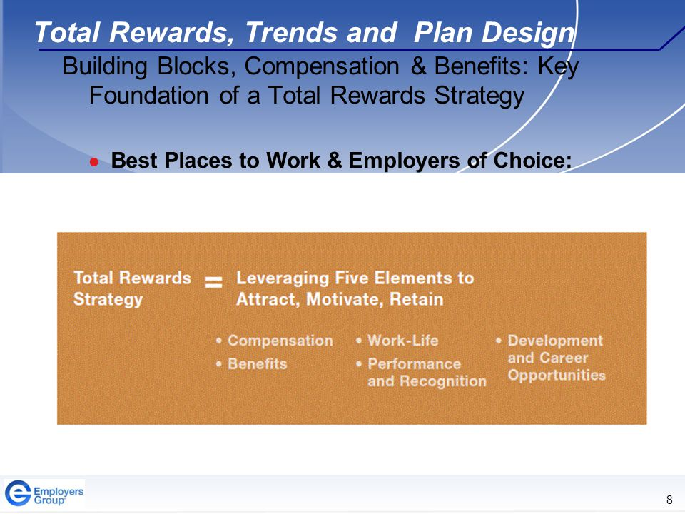 8 Total Rewards, Trends and Plan Design Building Blocks, Compensation & Benefits: Key Foundation of a Total Rewards Strategy Best Places to Work & Employers of Choice: