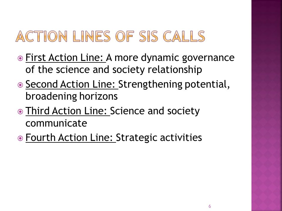  First Action Line: A more dynamic governance of the science and society relationship  Second Action Line: Strengthening potential, broadening horizons  Third Action Line: Science and society communicate  Fourth Action Line: Strategic activities 6
