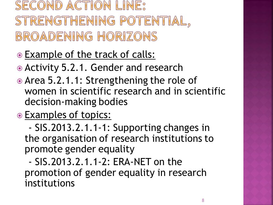  Example of the track of calls:  Area 5.3.0.5: Promoting excellent trans- national research and science communication by the means of popular prizes  Example of topics: - SIS.2013.3.0.5-1: European Union Contest for Young Scientists (EUCYS) 2013 - SIS.2013.3.0.6-1: Conference under the Irish Presidency (1 st semester 2013) The role of the media in Responsible research and innovation 9