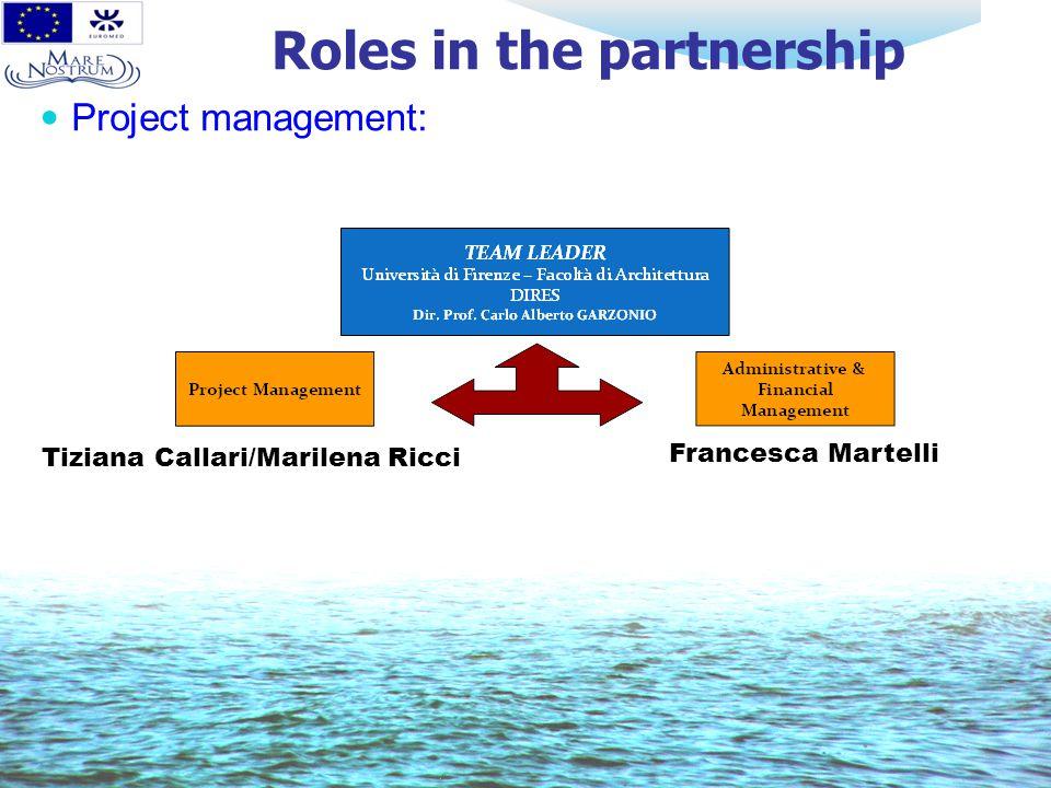 Roles in the partnership Project management: Tiziana Callari/Marilena Ricci Francesca Martelli
